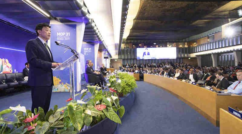 FAO Director-General Qu Dongyu addresses the High-Level Segment of the 31st Meeting of the Parties to the Montreal Protocol at FAO headquarters in Rome on November 7, 2019. Photo: FAO