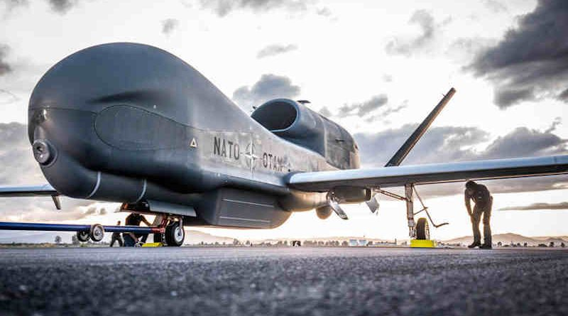 First NATO Alliance Ground Surveillance (AGS) aircraft lands in Sigonella, Italy on Thursday (21 November 2019). Photo: NATO