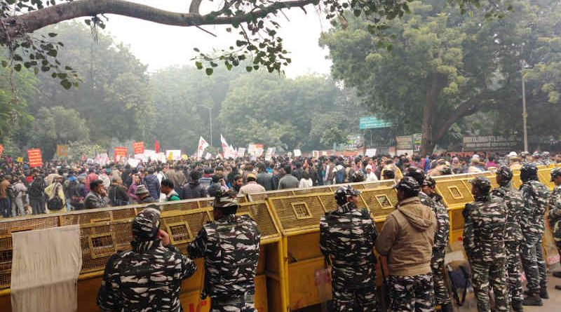 Heavy police force deployed to crush protests against PM Modi's government in India. (file photo)
