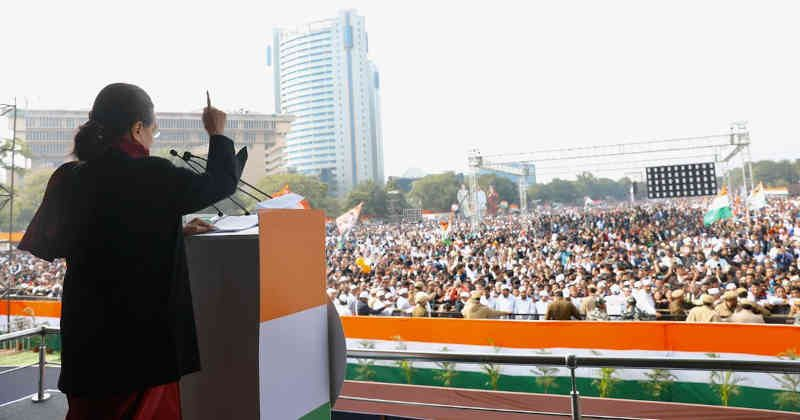 "Congress president Sonia Gandhi addressing people at the Bharat Bachao Rally or ""Save India Rally"" in India's capital New Delhi on December 14, 2019. Photo: Congress (file photo)"