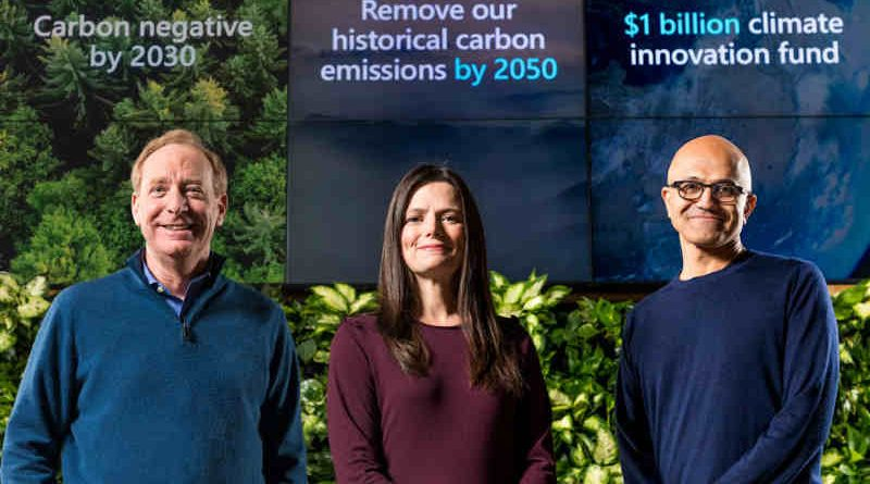 Microsoft President Brad Smith, Chief Financial Officer Amy Hood, and CEO Satya Nadella preparing to announce Microsoft's plan to be carbon negative by 2030 on January 15, 2020. Photo: Microsoft / Brian Smale
