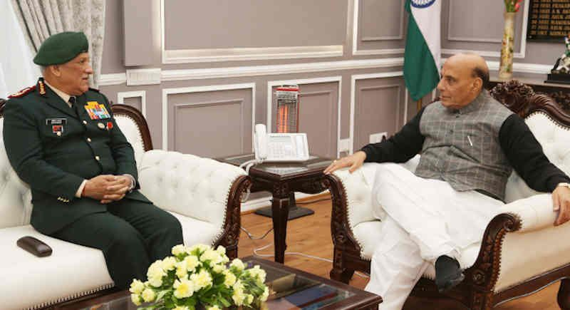The Chief of Defence Staff (CDS), General Bipin Rawat calling on the Union Minister for Defence, Rajnath Singh, in New Delhi on January 01, 2020. Photo: PIB
