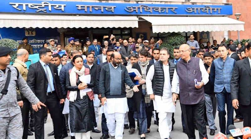 A Congress delegation led by Rahul Gandhi and Priyanka Gandhi submitted a 538-page complaint on January 27, 2020 to the NHRC against the UP police's attacks on innocent people who are protesting peacefully against the Indian government's discriminatory Citizenship Amendment Act (CAA). Photo: Congress