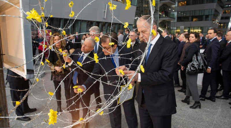 "NATO Deputy Secretary General Mircea Geoană and Francesco Talò (Italian Permanent Representative to NATO) at the unveiling of art installation ""Dandelions"" at a ceremony hosted by the Italian delegation to NATO, marking the International Holocaust Remembrance Day. Photo: NATO"