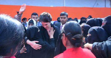 Congress leader Priyanka Gandhi visited Azamgarh city of Uttar Pradesh (UP) on February 12, 2020 to take firsthand information from the Muslim women. Photo: Congress