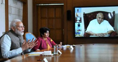 Narendra Modi speaking about Covid-19 through video conference in New Delhi on March 24, 2020. Photo: PIB (file photo)