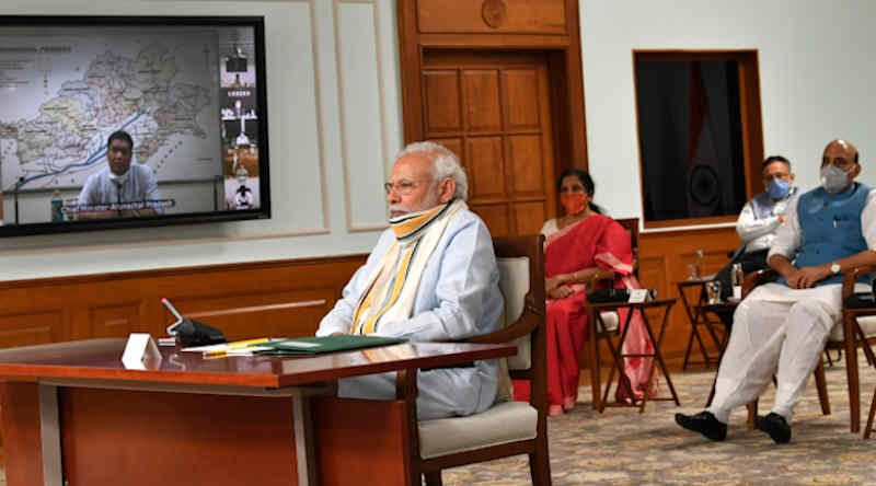 Narendra Modi holds 5th meeting with the State Chief Ministers via video conferencing on COVID-19 situation, in New Delhi on May 11, 2020. Photo: PIB