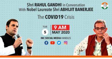 Rahul Gandhi with Abhijit Banerjee. Photo: Congress