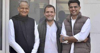 Congress leaders Ashok Gehlot, Rahul Gandhi, and Sachin Pilot. Photo: Congress (file photo)