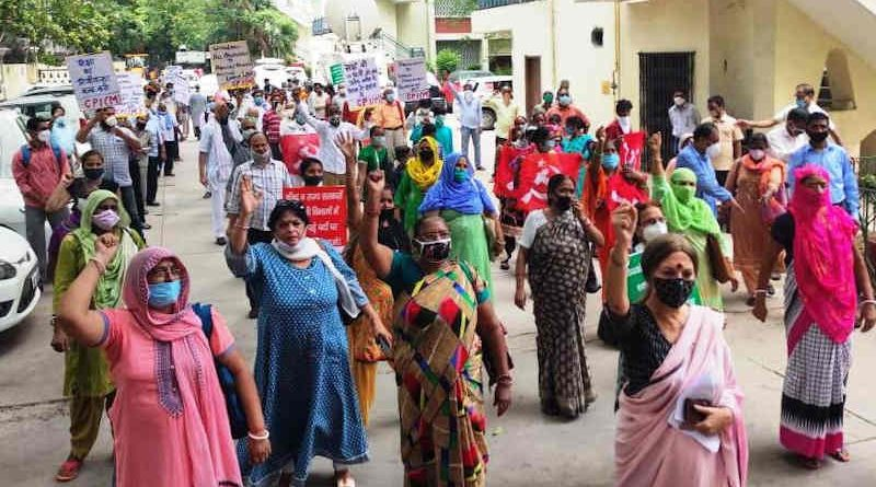 CPI(M) leader Ms Brinda Karat leading the protesters in Delhi on August 26, 2020. Photo: CPI(M)