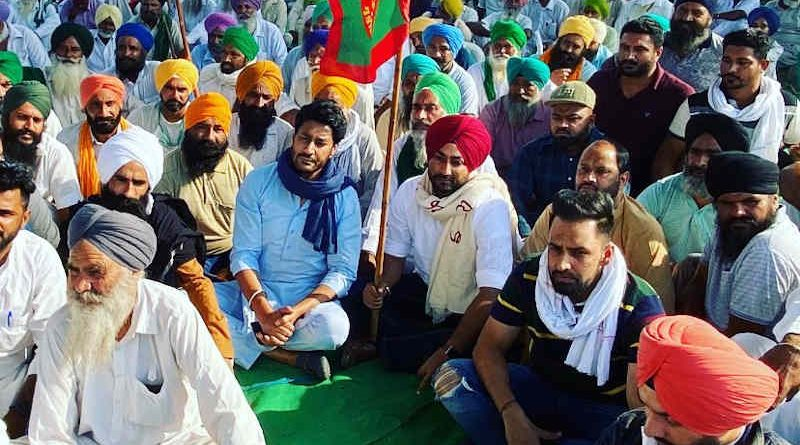 Popular singers and actors such as Harbhajan Mann, Sidhu Moosewala, Ranjit Bawa, Jass Bajwa, Deep Sidhu, and Ms Sonia Mann are supporting the farmers' protests and addressing public rallies in several parts of Punjab. Photo courtesy: Harbhajan Mann / Twitter