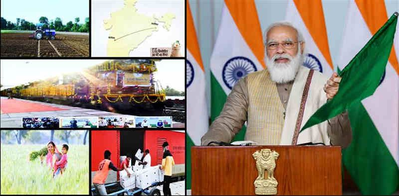 Prime Minister Narendra Modi flags off the 100th Kisan Rail from Sangola in Maharashtra to Shalimar in West Bengal, via video conferencing, in New Delhi on December 28, 2020. Photo: PIB