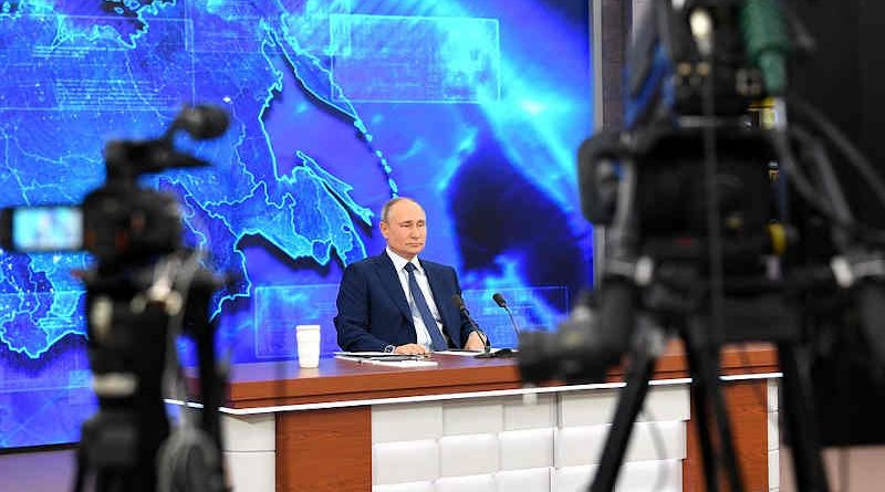 Russian President Vladimir Putin addressing his annual press conference on December 17, 2020. Photo: Kremlin