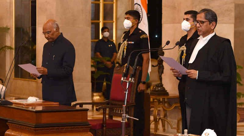 Justice Nuthalapati Venkata Ramana sworn in as the Chief Justice of the Supreme Court of India by the President of India Ram Nath Kovind on April 24, 2021 at the Rashtrapati Bhavan. Photo: Rashtrapati Bhavan