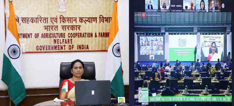 """The Minister of State for Agriculture and Farmers Welfare, Ms Shobha Karandlaje virtually addressing the Ministerial Roundtable on """" Transforming Food Systems for Achieving the SDGs: Rising to the Challenge"""", organised by the United Nations as part of the UN Food Systems Pre-Summit, in New Delhi on July 27, 2021. Photo: PIB"""