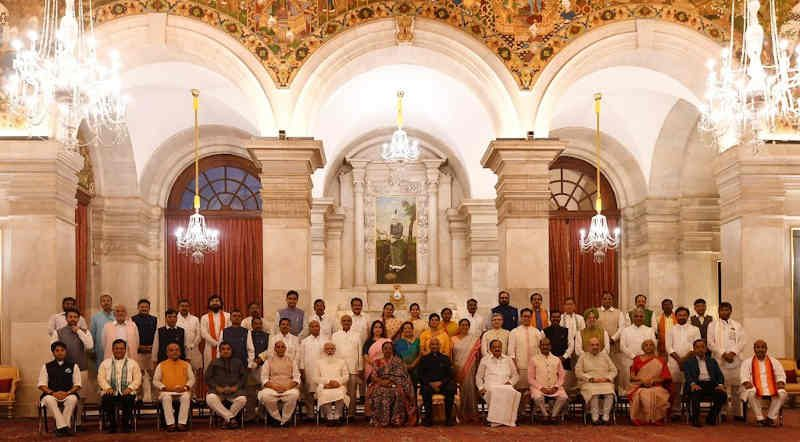 Portrait of Ministers in the Indian Government on July 7, 2021. Photo: PMO Office / Twitter