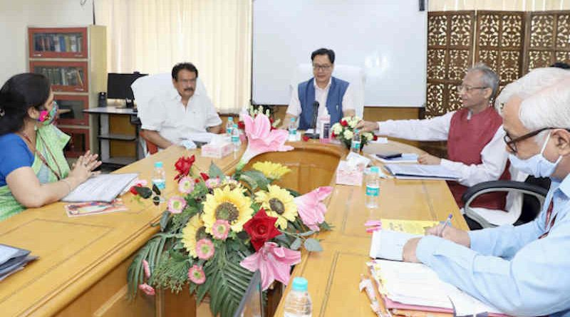 The Union Minister for Law and Justice, Kiren Rijiju chairing the meeting to review various issues of the Department of Legal Affairs and Legislative Department under the Law Ministry, in New Delhi on July 15, 2021. The Minister of State for Law and Justice, S.P. Singh Baghel is also seen. Photo: PIB