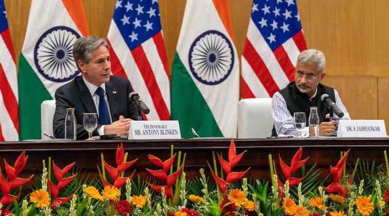 U.S. Secretary of State Antony Blinken with External Affairs Minister of India S. Jaishankar in New Delhi on July 28, 2021. Photo: U.S. Department of State