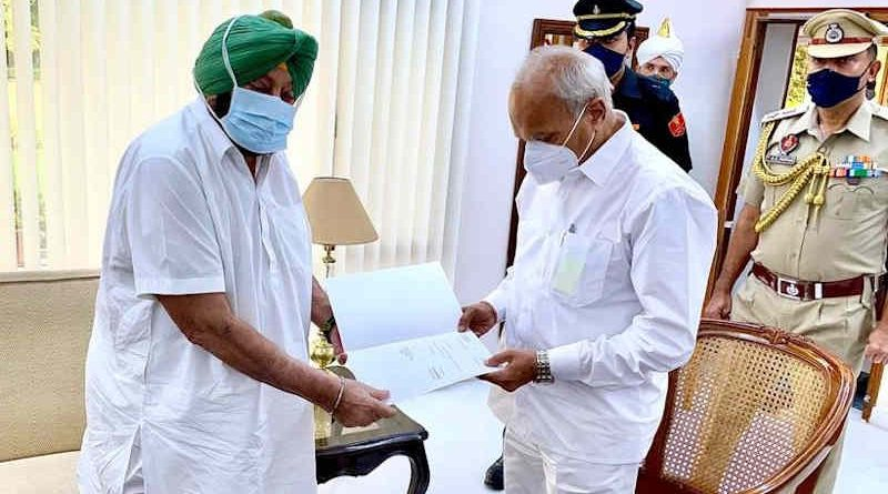 Punjab CM Amarinder Singh submitted his resignation to governor of the state on September 18, 2021. Photo: Amarinder Singh / Twitter