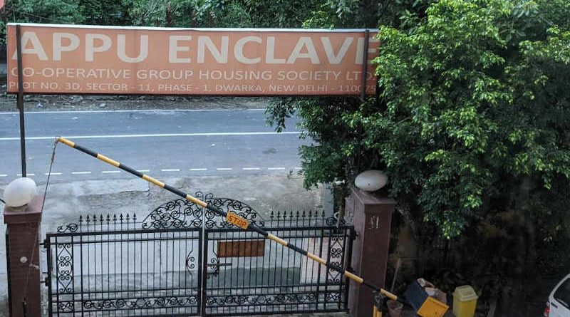 "Photo: Appu Enclave CGHS Ltd., Plot No. 3D, Sector 11, Dwarka, New Delhi 110 075. Click the photo to visit ""Clean House"" anti-corruption service."