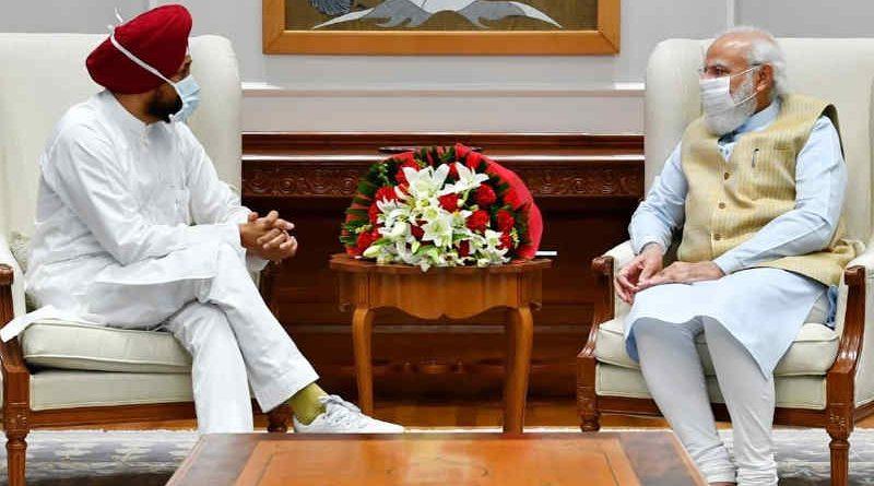Chief minister (CM) of Punjab Charanjit Singh Channi meeting prime minister (PM) Narendra Modi at New Delhi on October 1, 2021. Photo: Charanjit Singh Channi / Twitter
